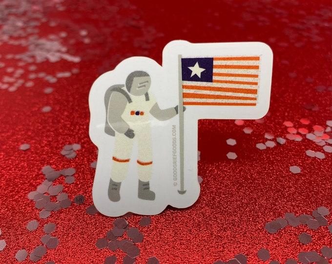Retro Astronaut With American Flag Vinyl Die Cut Weather Resistant Sticker