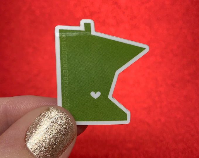 FOREST GREEN Mini Minnie - Small Mid-Century Twin Cities Minnesota Vinyl Die Cut Weather Resistant Sticker