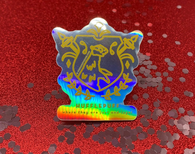 Hufflepuff House Crest --- Harry Potter Holographic Vinyl Die Cut Weather Resistant Sticker