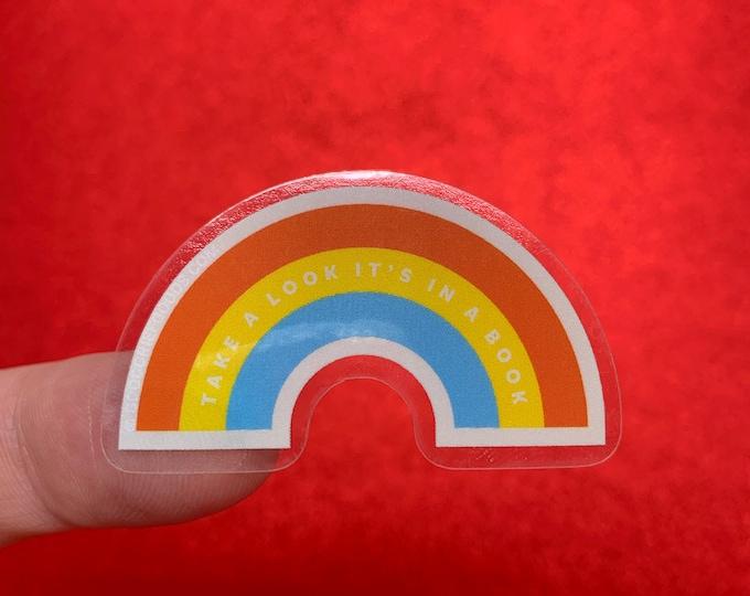 Reading Rainbow Clear Vinyl Die Cut Weather Resistant Sticker