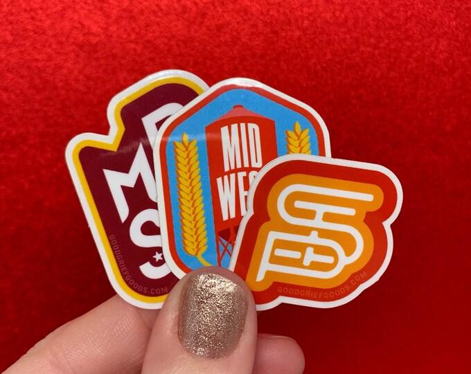 MIDWEST PRIDE SET - Three (3) Minneapolis/Saint Paul/Midwest Pride Vinyl Die Cut Weather Resistant Stickers