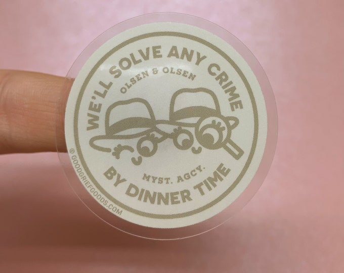 """The Adventures of Mary-Kate and Ashley - """"Olsen and Olsen Mystery Agency"""" Clear Vinyl Die Cut Weather Resistant Sticker - """"KHAKI"""" VERSION"""