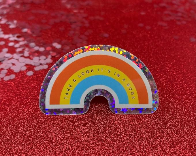 Reading Rainbow Glitter Holographic Vinyl Die Cut Weather Resistant Sticker