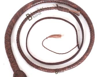 Kangaroo Hide Leather /& Shot Loaded Snake Whip 4 6 or 8 Feet 12 Strands Black 5