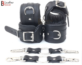 Real Cow Leather Wrist and Ankle Cuffs Collar Restraint Bondage Set Black 6 Piece Padded Cuffs with two connectors