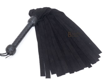 Real Genuine Cow Hide Suede Leather Flogger 25 Falls Black Light Weight Suede Falls for Warm up