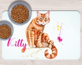 Custom Red Cat Pet Placemats, Crazy cat lady gift, Dog Bowl Mat, Custom Pet Gifts, Custom Pet Mat