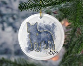 Custom French Bulldog Porcelain Ornaments,Canis Major Constellation, Memorial Gift, Dog Lover Mom. Personalization Gift