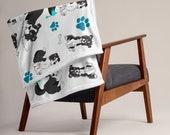 Custom Border collie Throw Blanket, Super cute puppy border collies for every border collie lovers