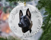 Belgian malinois, Christmas Ceramic Ornaments, pet memorial ornament