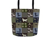 Hunting Dog Tote Bags, Basset Hound, Beagle, Retriever, Pointer, Vizsla Patchwork Style Tote
