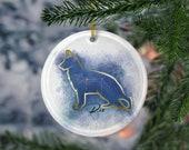 Custom German Shepherd Porcelain Ornaments,Canis Major Constellation, Memorial Gift, Dog Lover Mom. Personalization Gift