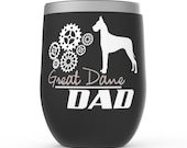 Great Dane Dad Stemless Wine Tumblers - dog lover father gift