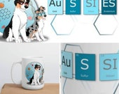 Australian shepherd mug, science style, funny cartoon dog, gifts periodic table mug, coffee mug, aussiei,gifts for doctor or graduation