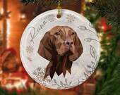Custom hungarian vizsla modern christmas Ceramic Ornaments, pet memorial gift