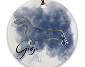 Custom Dachshund Porcelain Ornaments, Canis Major Constellation, Memorial Gift, Dog Lover Mom. Personalization Gift