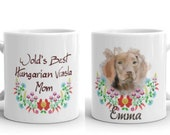 Custom Hungarian vizsla Kalocsai style Coffee Mug, traditional, kalocsai minta, hungary style, hunting gifts, hunter dog, dog with flowers