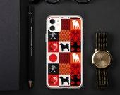 Japanes akita, shiba, hokkaido inu, Kai Ken  iPhone Case, Japanes dog with inu (dog) japanes calligraphy