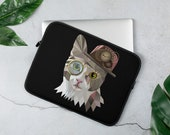 Custom Cat Laptop Sleeve, Steam punk  style cat laptop case, Pesronalized text or name / monogrammed