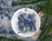Custom American Staffordshire /Pitbull Terrier Porcelain Ornaments,Canis Major Constellation, Memorial Gift, Dog Lover Mom