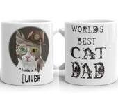 Custom steampunk cat Mug, Best cat dad office mug