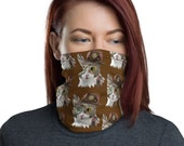 Steam punk cat Neck Gaiter  Mask Cover, Fully Washable Reusable Large Cloth Full Face Mask Stretch Fabric Ladies Women