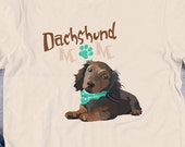 Dachshund mom Short-Sleeve Unisex T-Shirt, Dachshund  long haired lover gift , Cute Dachshund Gift, Doxie Mom Shirt,