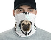 Pug Neck Gaiter,  funny smoking dog,Mask Cover, Fully Washable Reusable Large Cloth Full Face Mask Stretch Fabric Ladies Women Men