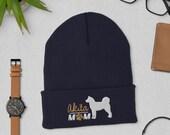 Akita mom Cuffed Beanie, Christmas akita gift, winter dog walking, autumn dog