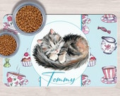 Custom  Cat Pet Placemats, Crazy cat lady gift, Dog Bowl Mat, Custom Pet Gifts, Custom Pet Mat