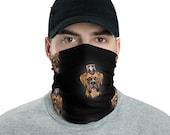 Steam punk boxer Neck Gaiter Fully Washable Reusable Large Cloth Full Face Mask Stretch Fabric Ladies Women or men