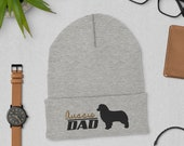 Australian shepherd dad Cuffed Beanie, winter dog walking, christmas dog