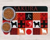 Japanese dog breeds Pet Placemats, Akita and Shiba,hokkaido inu Kai Ken, japanes dog patchwork style