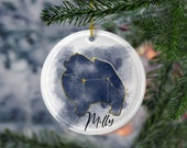 Custom Pomeranian Porcelain Ornaments, Canis Major Constellation, Memorial Gift, Dog Lover Mom. Personalization Gift
