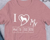 Australian shepherd Short-Sleeve Unisex T-Shirt, Aussie mom and aussie dad shirt, I love my aussie shirt gift