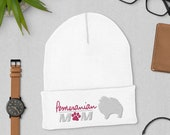 Cute pomeranian mom Cuffed Beanie, winter dog walking, christmas pomi gift