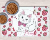 Custom White Cat Cuspet Placemats, Crazy cat lady gift, Dog Bowl Mat, Custom Pet Gifts, Custom Pet Mat