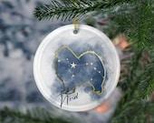 Custom Samoyed Porcelain Ornaments, Canis Major Constellation, Memorial Gift, Dog Lover Mom. Personalization Gift
