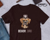 Boxer dad Short-Sleeve Unisex T-Shirt, Steampunk boxer shirt , Boxer Dog Lover, Boxer Dog Tee,