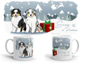 Australian shepherd mug I aussie christmas I dog mug I winter mug I winter coffee/tea mug, Christmas gift I winter gift