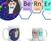Bernese Mountain Dog mug , Berner cartoon scinece coffee, galaxy periodic table dog, gifts for geek or veterinarian, black dog,