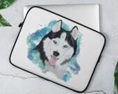 Husky Laptop Sleeve, Siberian husky dog gifts, iPad Sleeve 12, Laptop Sleeve 13 inch, MacBook Pro 15 Bag, Dog laptop sleeve