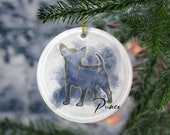 Custom Chihuahua Porcelain Ornaments, Canis Major Constellation, Memorial Gift, Dog Lover Mom. Personalization Gift