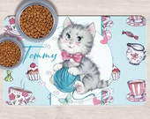 Custom Gray striped cat Pet Placemats, cute kitten gift idea