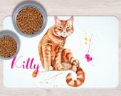 Custom Red Cat Pet Placemats, Crazy cat lady gift, Dog Bowl Mat, Custom Pet Gifts, Custom Pet Mat