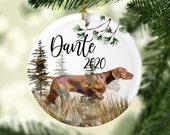 Custom Vizsla ceramic ornament, Hungarian vizsla gift, vizsla mom christmas gift, dog memorial gift
