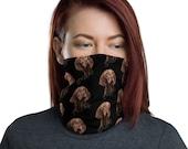 Hungarian Vizsla Neck Gaiter Mask Cover, Fully Washable Reusable Large Cloth Full Face Mask Stretch Fabric Ladies Women Men