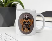 Custom Boxer Mug, Steam punk boxer dog gift, perfect giftst every boxer mom and boxer dad,