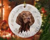 Custom hungarian vizsla modern christmas Ceramic Ornaments, pet memorial gift