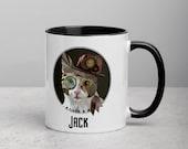 Cat Mug with Color Inside, Cat dad mug, Steampunk cat daddy mug, Cat mom or cat dad mug